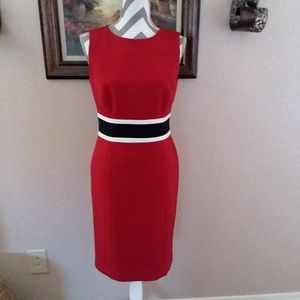Sleeveless Red Black Stripe Contrast Sheath Dress
